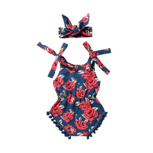 Summer Baby Girls Rose Floral Romper Jumpsuit+ Headband 2PCS Outfit Sunsuit Clothes