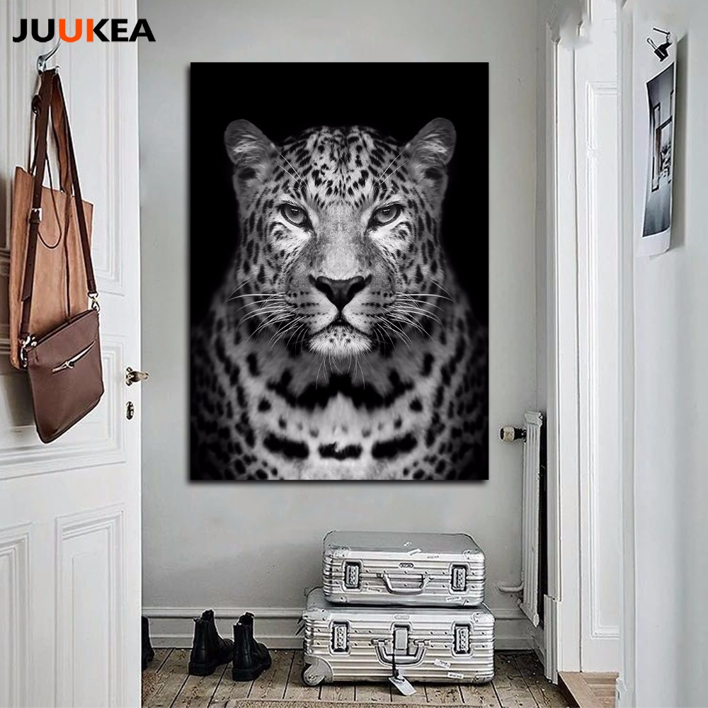 modern black and white hd photography tigers leopard lions wild animal face canvas print. Black Bedroom Furniture Sets. Home Design Ideas