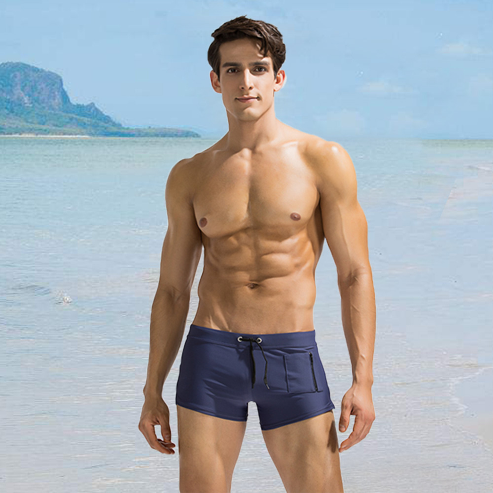 Side Zipper Pocket Swimwears Sexy Mens Swimsuits Man Swimming Shorts Sexy Men's Swimming Trunks For Bathing Summer Beachsuit