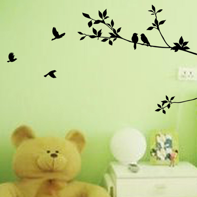 Black Tree And Bird Wall Stickers Home Decor Tree Living Room Wall ...
