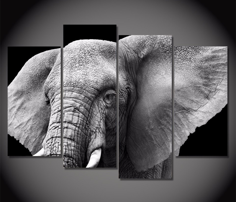 4piece canvas printed wall painting elephant tusks ears