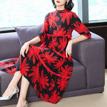 Chinese Silk dress women high quality plus size red elegant floral midi party robe dresses 2019 summer loose casual clothing цена