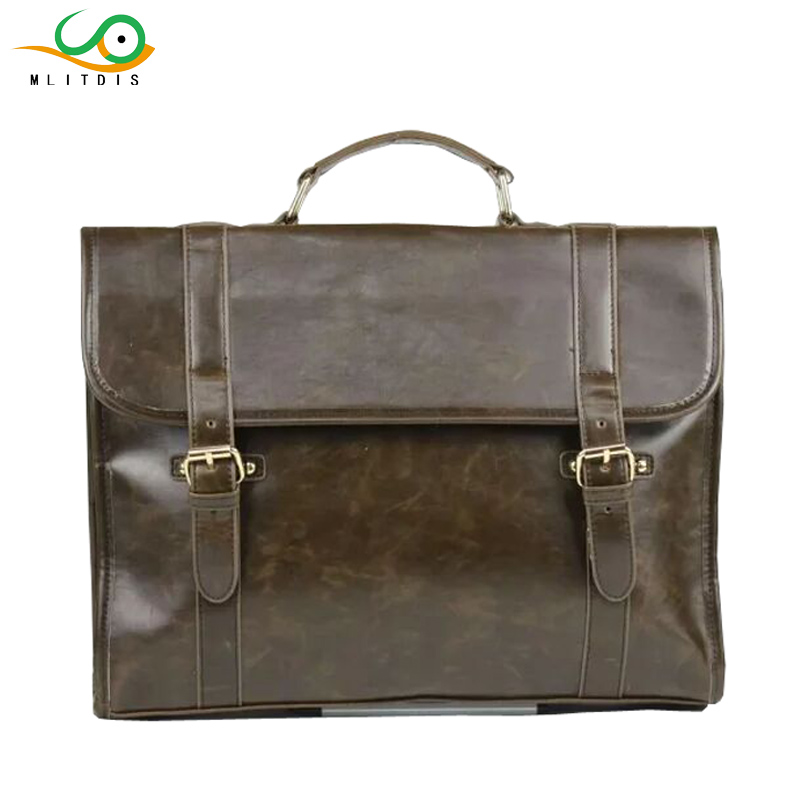 MLITDIS Hot Men Retro Briefcase Male Business Shoulder Bag Leather Handbag Bag Computer Laptop Messenger Bags Men's Travel Bags new high quality male leather men laptop briefcase bag 14 inch computer bags handbag business bag single shoulder business bags