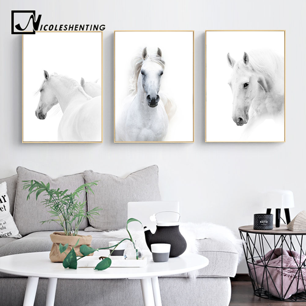 Animal white horse wall art canvas posters and prints - Modern wall decor for living room ...