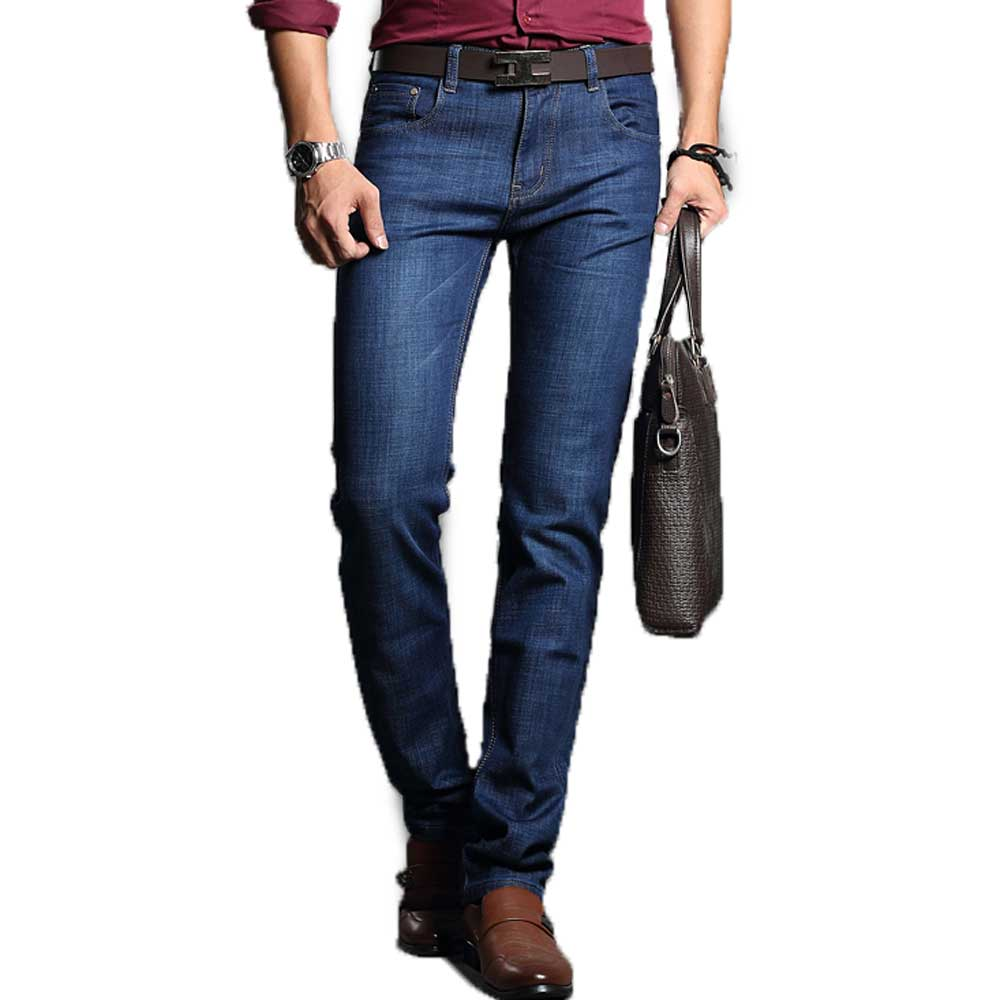 Men s Slim Jeans Denim Business Pant Dark Blue High Quality Modern Design