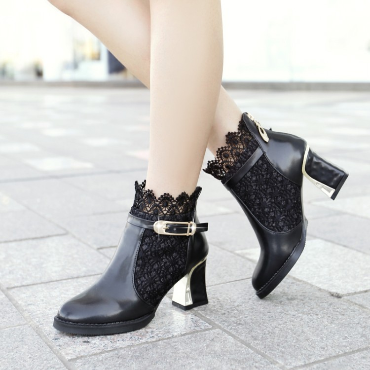 ФОТО New arrival 2016 lace plus size 40 - 43 44 45 46 47 48 thick heel high-heeled shoes female boots free shipping