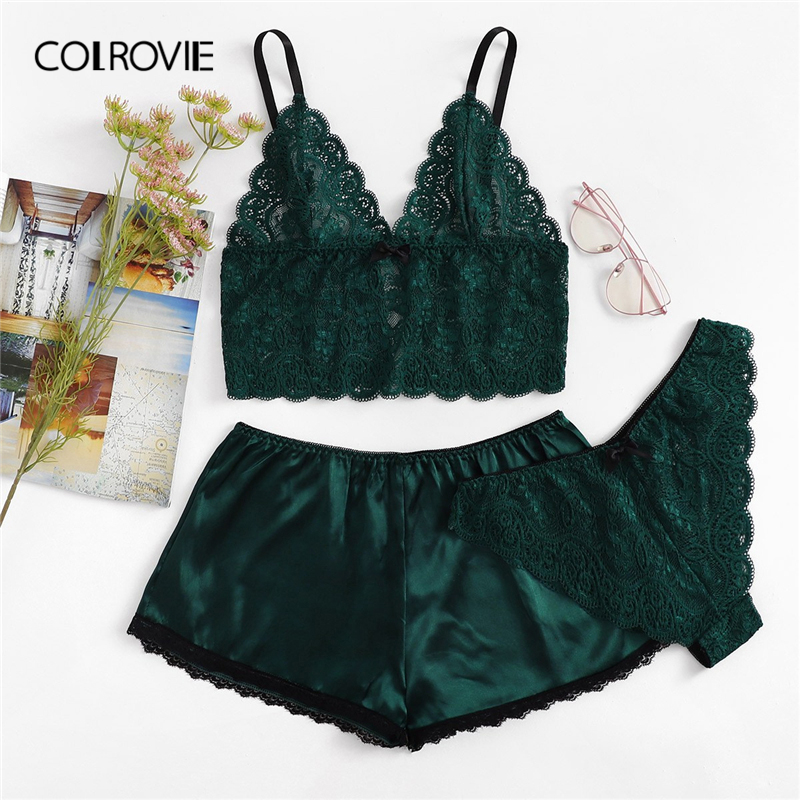 COLROVIE Army Green Sexy Floral Lace Cami Lingerie   Set   Burgundy Women   Bra   And   Brief     Sets   Wireless Sexy Underwear   Bra     Set