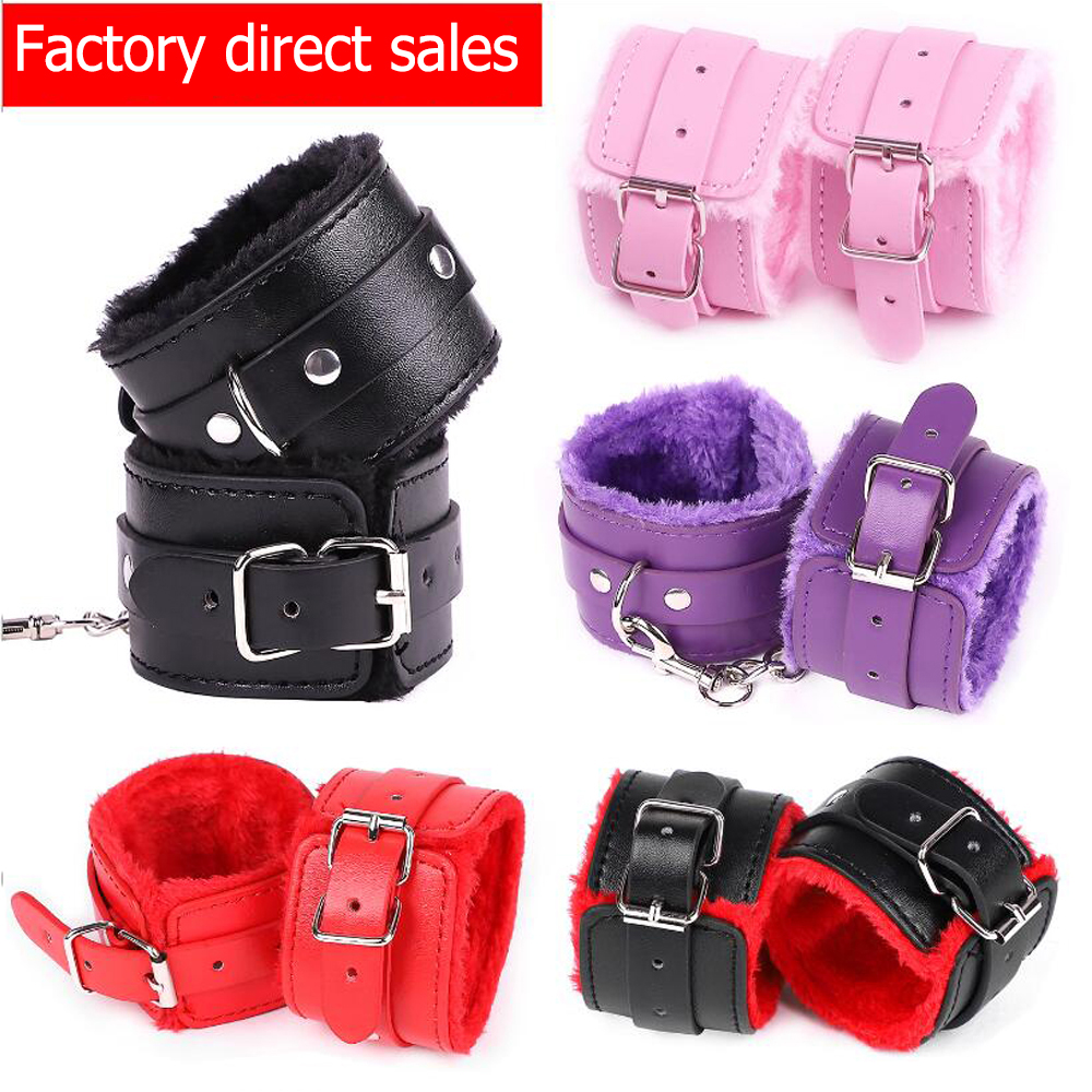 Exotic Accessories Sexy Adjustable PU Leather Plush Handcuff Ankle Cuff Restraints Bondage Sex Toys For Couples Sex Bondage