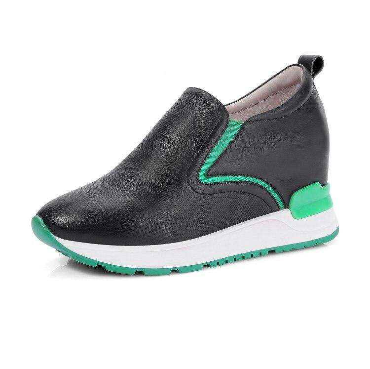 Zapatos Altos white Tacones Verano Deslizamiento Transpirable Bombas Cuero Mujeres Aumento De Blanco Black Moda Color Mljuese 2018 En Vaca 7ZxUO