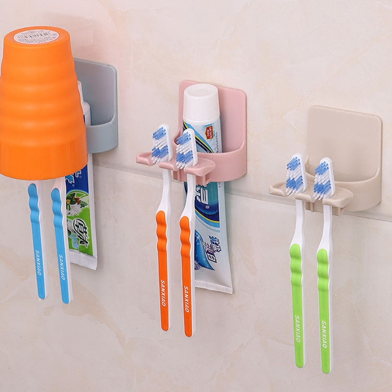 Wall Mount Plastic Toothbrush Holder Toothpaste Stand Rack