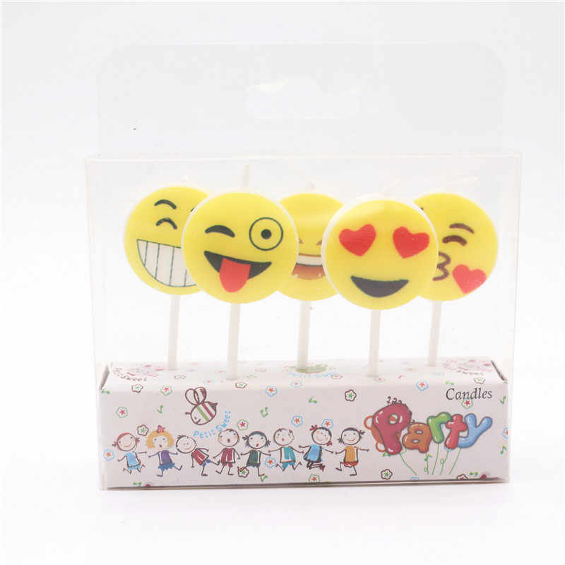 5pcs Lot Party Supplies Kids Cartoon Birthday Candles Emoji Even Decorations Set