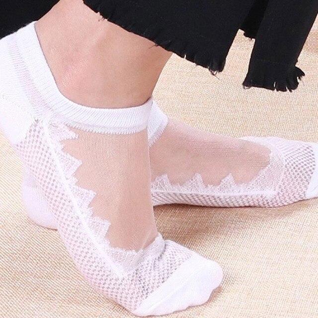 acb61546ae6 popsocket 2018 Summer Lace Woman socks Ladies Sheer Silky Glitter  Transparent Short Ankle Socks