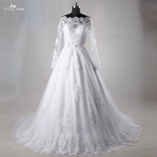 TW0164 2018 Ball Gown Long Sleeves Appliques See Through Wedding Dresses Beaing Wedding Gown Bridal Gown Vestido De Noiva
