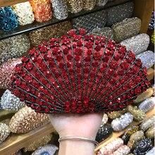 Luxury Diamond Red Color Evening Clutch Crystal Bag 2020 Wedding Party Women's Evening Purse 100% Handmade Crystal Ladies Purses