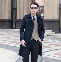 Black blue beige 2016 slim sexy long trench coat men british fashion double breasted mens overcoat plus size 8XL 9XL