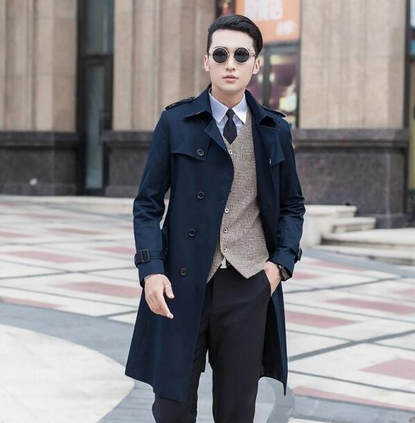 Popular Trench Coat Blue Men-Buy Cheap Trench Coat Blue Men lots ...