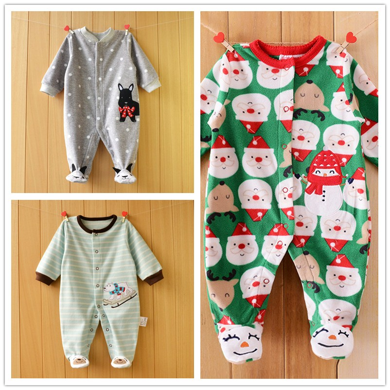 New Fashion Christmas Winter Baby Rompers Fleece Footed Baby Boys Clothes Infant Cartoon Baby Romper bebe Baby Girl Clothing puseky 2017 infant romper baby boys girls jumpsuit newborn bebe clothing hooded toddler baby clothes cute panda romper costumes
