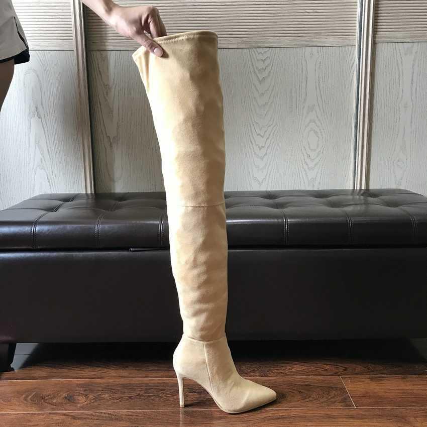2019 Merk Herfst Winter Vrouwen Laarzen Lange Stretch Slim Dij Hoge Laarzen Mode Over de Knie Laarzen Hoge Hakken Schoenen vrouw