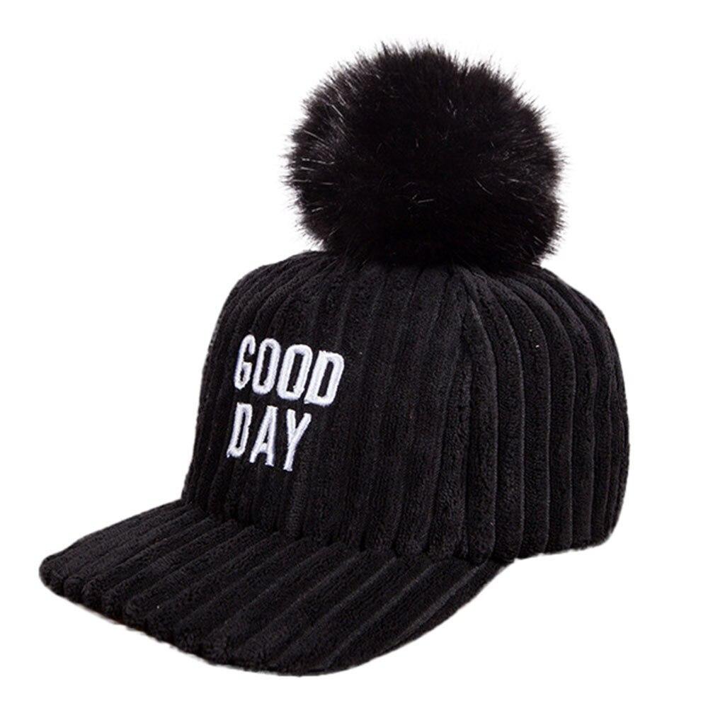 d9e406139abada winter hats for women Unisex Embroider Letter Hairball Bongrace Wi...