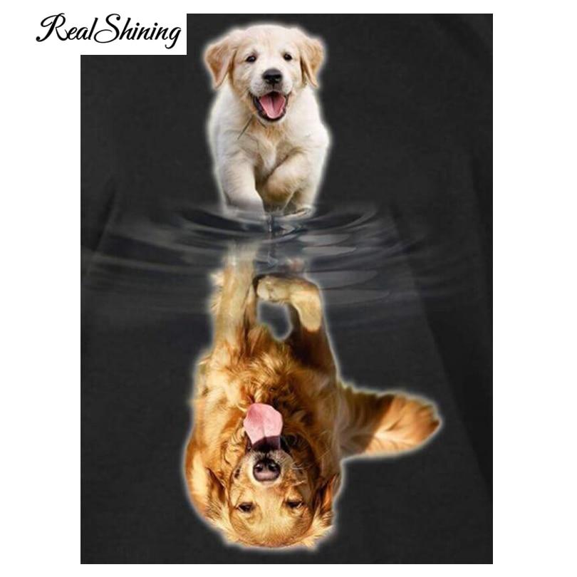 REALSHINING Dogs Growth 5D DIY Diamantfärg Cross Stitch Kit Full - Konst, hantverk och sömnad