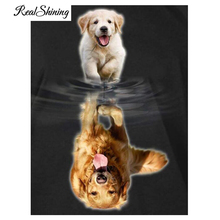 REALSHINING Dogs Growth 5D DIY Diamantfärg Cross Stitch Kit Full Square Diamond Broderi Diamond Mosaic Needlework FS163