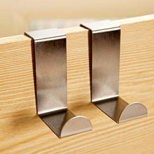 Wholesale 2Pcs/Set Stainless Steel Self Home Kitchen Wall Door Holder Robe Hook Hanger Hanging Coat Hooks(China)