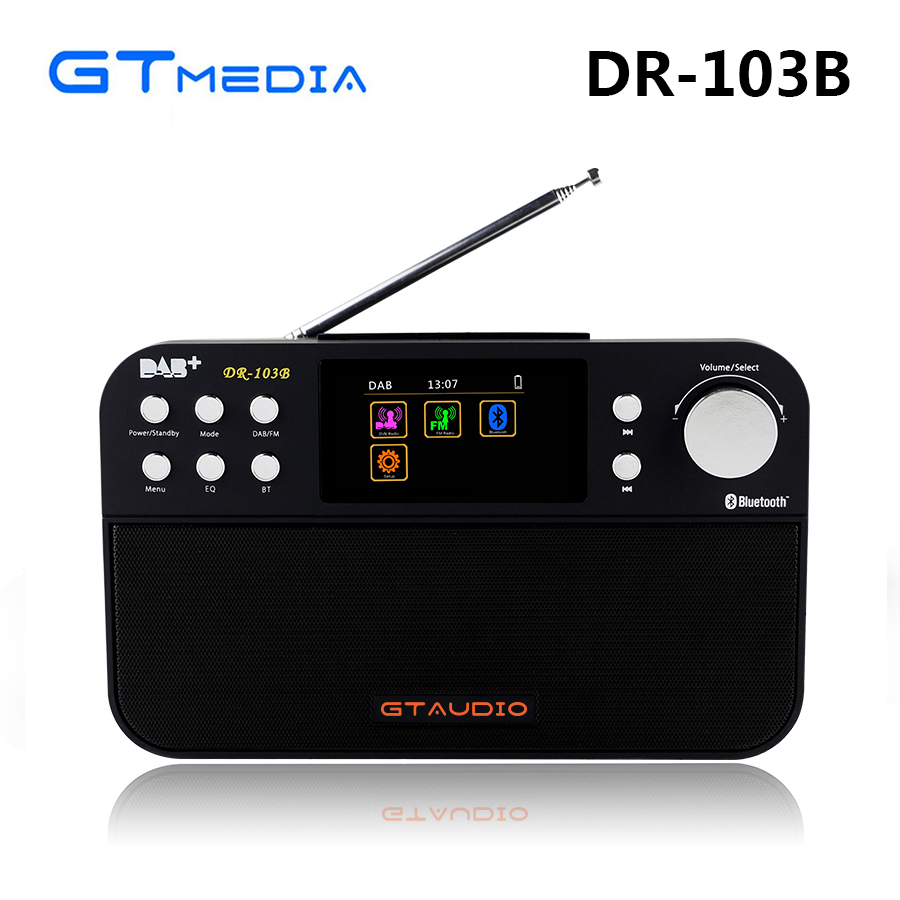 GTMEDIA DR-103B DAB Bluetooth Receiver Portable Digital DAB FM Stereo Radio Receptor With 2.4 Inch TFT Color Display Alarm Clock old version degen de1103 1 0 ssb pll fm stereo sw mw lw dual conversion digital world band radio receiver de 1103 free shipping