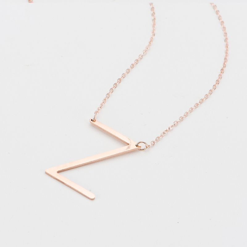 SUTEYI Fashion big Letter Necklaces Pendants women jewelry stainless steel chain suspension alphabet Rose gold letter necklace