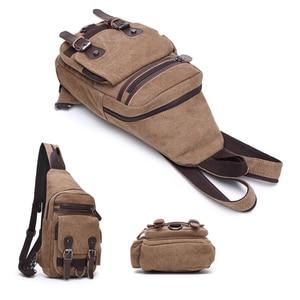Image 2 - Canvas Chest Bag Pack Vintage Men Backpack Shoulder Bags Female/Male Travel Backpack Multifunction Small Bags Mens Back Pack Bag