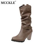 Mcckle/Женская Мода Тонкий Высокое качество кожи ботинки до середины икры с пряжками женские пикантные зимние толстый каблук, платформа на выс...