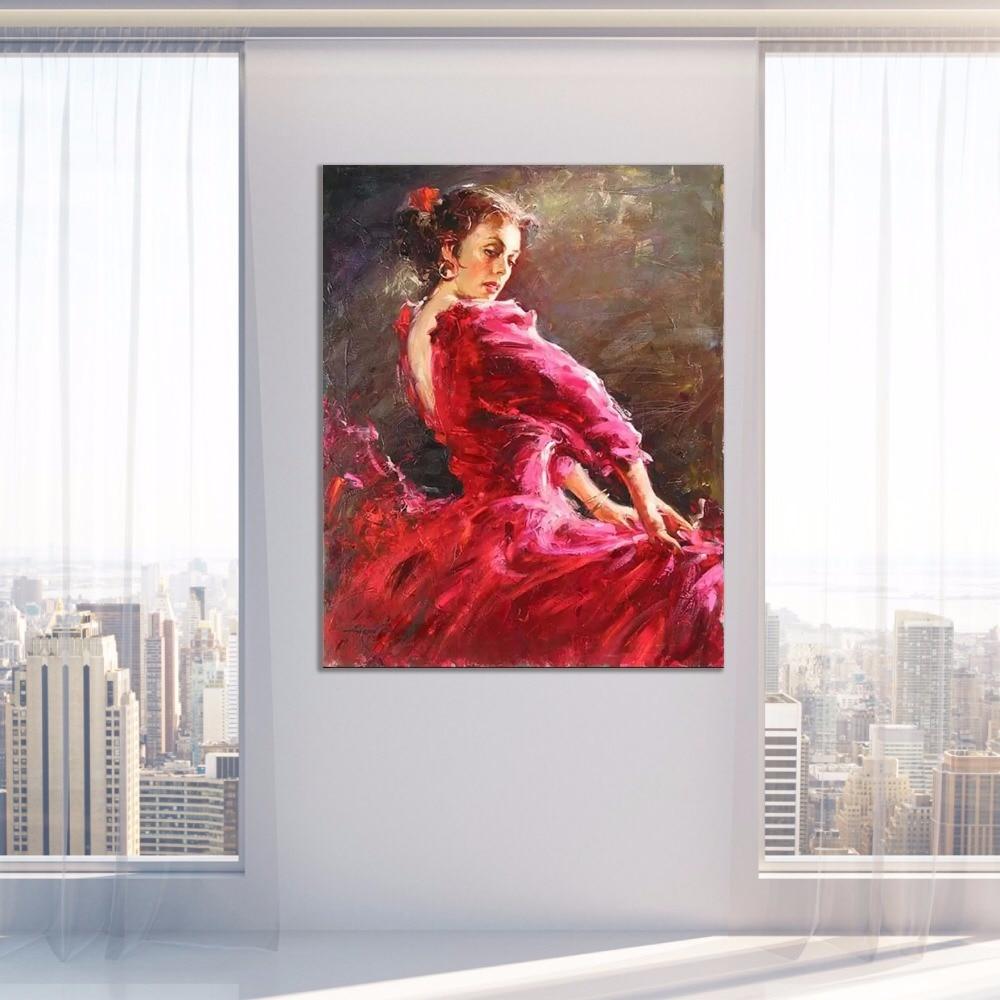 Купить с кэшбэком Hand painted Spanish dancer Oil paintings on canvas Lady Flamenco figurative art modern artwork for Wall Home Office Decor
