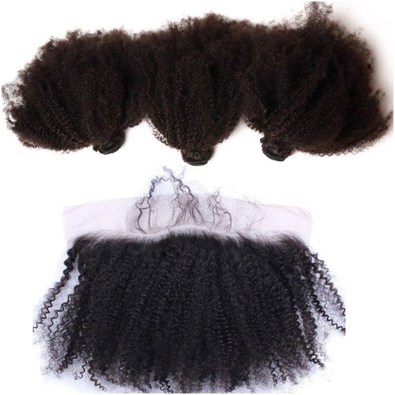 Афро кудрявый вьющиеся волосы Связки с закрытием предварительно сорвал кружева фронтальной с Связки Реми бразильские пучки волос плетение