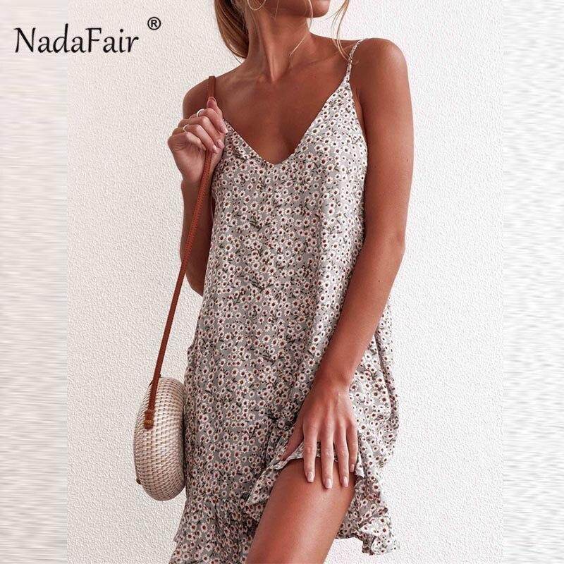 Nadafair Spaghetti sangle droite robe col en V femmes à volants Floral imprimer été Boho robe 2019 décontracté lâche plage Mini robes