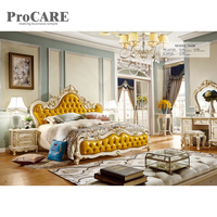 Classical hand carved bed room furniture American solid wood royal furniture wood double bed designs with box 968