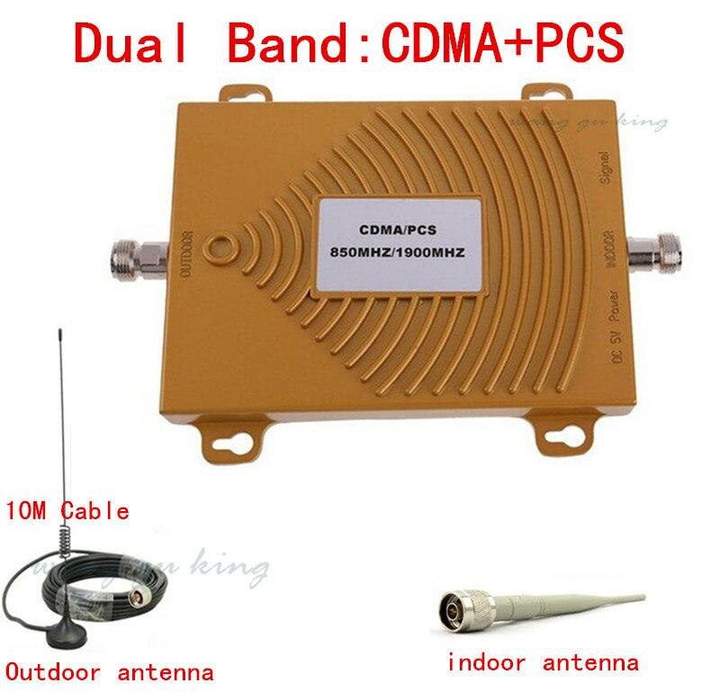 Full Set Dual Band PCS 1900MHz CDMA 850Mhz Mini Signal Repeater Cell Phone Signal Booster PCS CDMA Signal Amplifier With Antenna