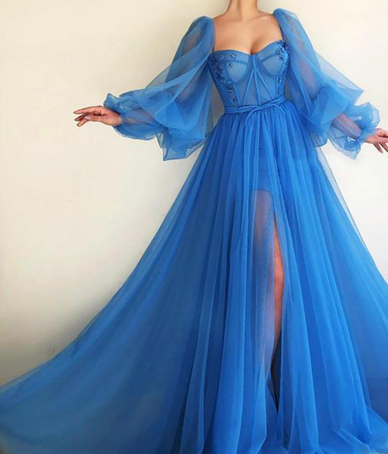 LORIE  2019 Blue Evening Dress Puff Sleeves Robe De Soiree Side Split Formal Prom Dresses Plunging Appliques Evening Gowns New