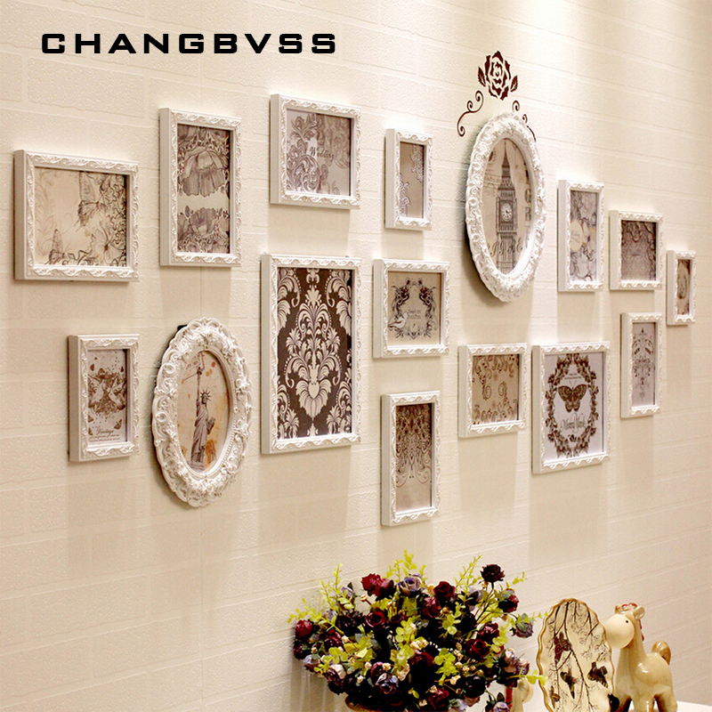 13 16Pcs European Style Wooden Carved Frames Combination Set White Photo Frame Home Decor Family Picture