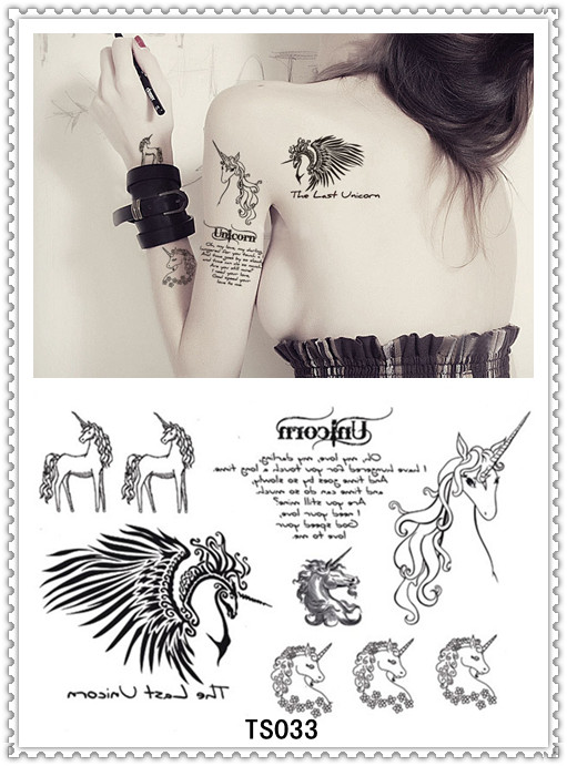 Yeeech Temporary Tattoo Sticker Unicorn Design Arm/Leg Body Art Sex Products with Vacuum Aluminum Foil Bag Waterproof