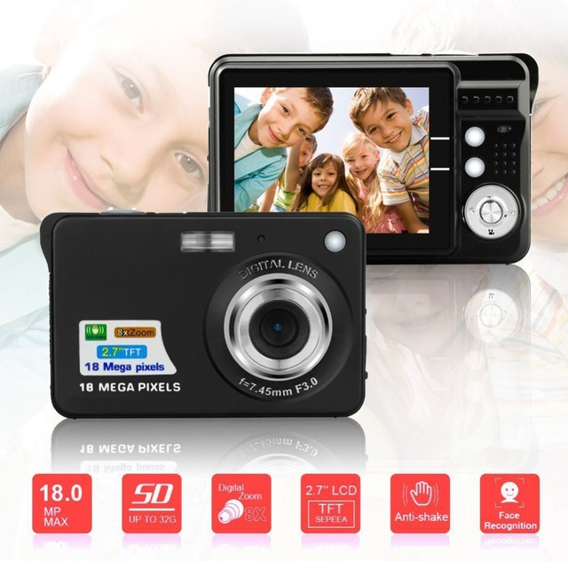 2.7inch 18MP 720P Children Portable Mini Digital Camera 8X Zoom TFT LCD Screen Video Camcorder Anti-Shake Photo Camera Kids Gift Consumer Electronics