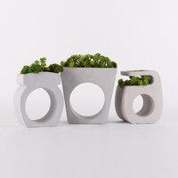 simple design concrete flower pot molds office Table decoration cement garden planter silicone forms