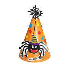 DIY Halloween Paper Creative Cartoon Cap Hat Favors Supplies Ornament Decoration Props for Children (Orange Spider)(China)