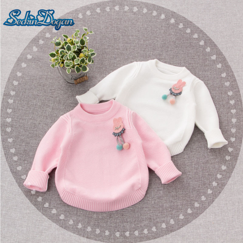 SeckinDogan Baby Girls Sweater 2018 White Pink Autumn Knit Baby Sweater Long Sleeve O-neck Solid 0-24M New Born Baby Clothes alfani women s long sleeve marilyn cowl neck tunic sweater emerald 2x