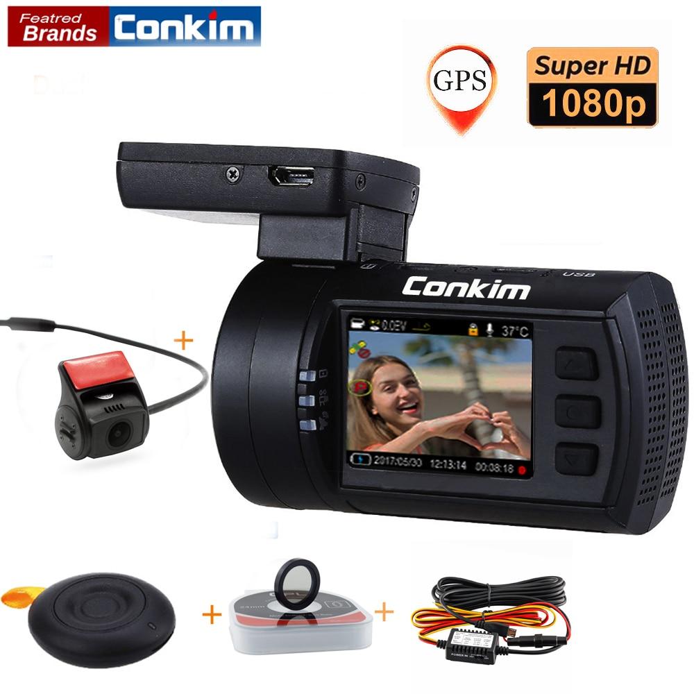 Conkim Avec 2 Caméras DVR Novatek 96663 Voiture Enregistreur Vidéo Avant Mini0906 Full HD Arrière Dash Cam GPS Parking Double lentille Greffier
