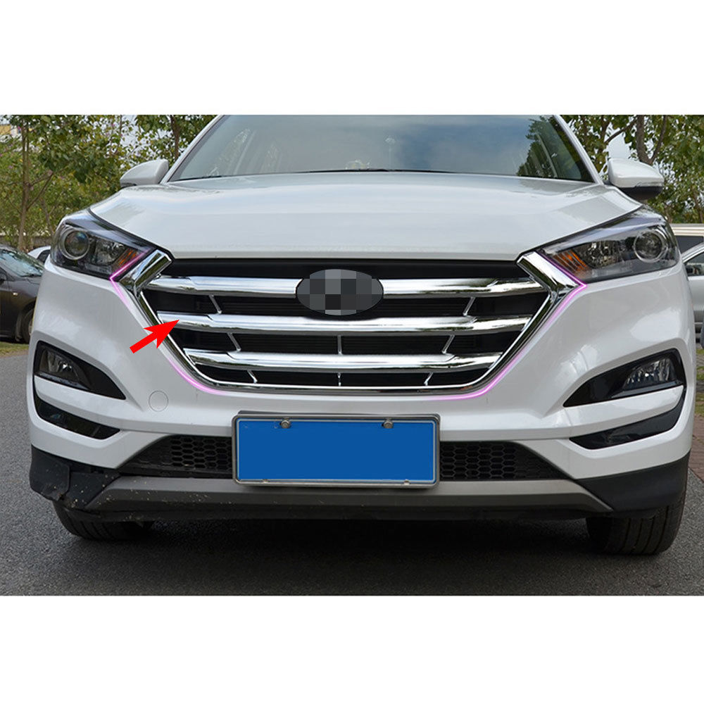 Car Chrome Front Middle Grille Grill Cover Trim Molding For Hyundai Tuscon 2015-2016 Car Styling Accessories Car Covers Decorate high quality car body styling protection detector metal trim racing front up grid grille grill 1pcs for kia sorento 2013 2014