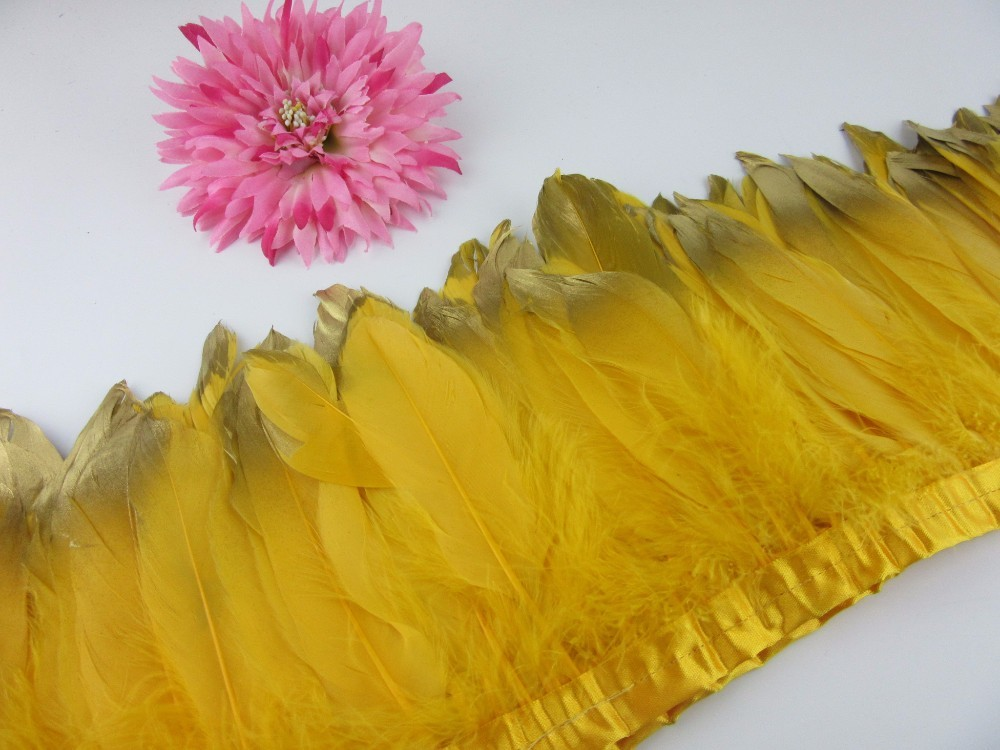Fashion Gold Tips Goose feather trims 2-10yards Gold Dyed geese feather ribbons /15-20cm Duck feather fringes Free shipping