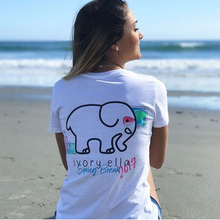 2017 summer new ivory ella letter elephant pattern casual T-shirt cotton T-shirt women