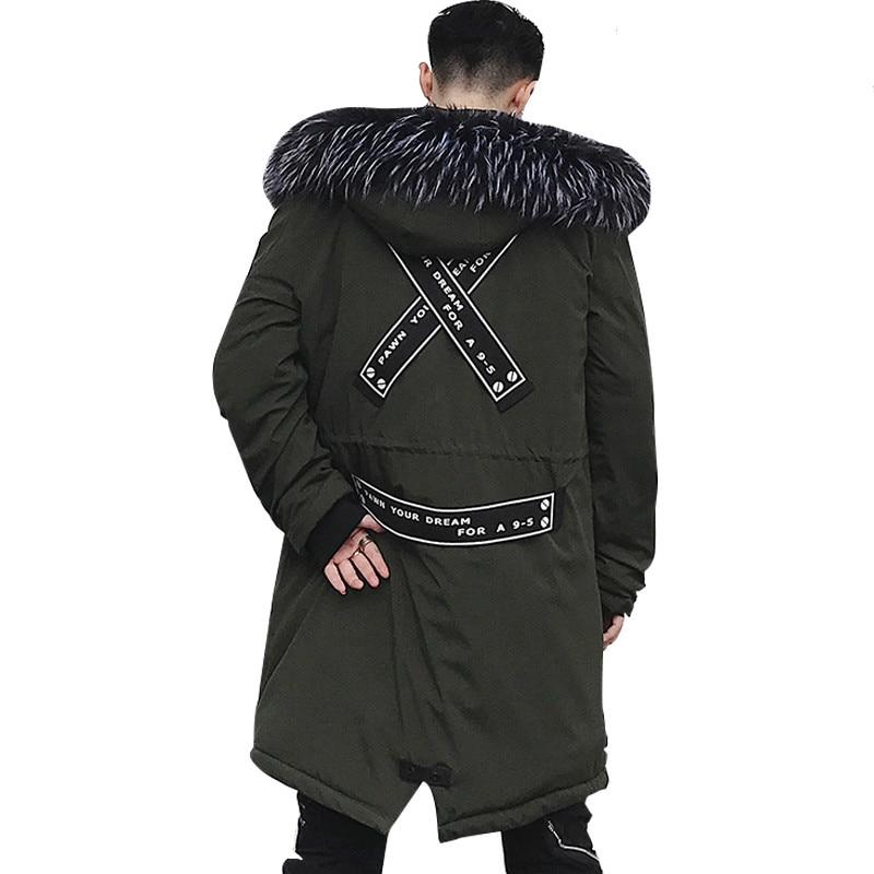 Hip Hop veste d'hiver pour homme 2019 nouvelle mode veste hiver décontracté hommes à capuche chaud manteaux Parkas hommes épais moyen-Long solide