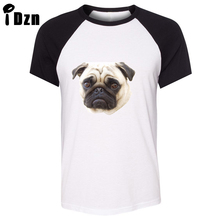 Unisex Summer T-shirt Funny Animal Pug Dog AWW Cute Love Tram ride Art pattern Raglan Short Sleeve Men T shirt Casual Tee Tops