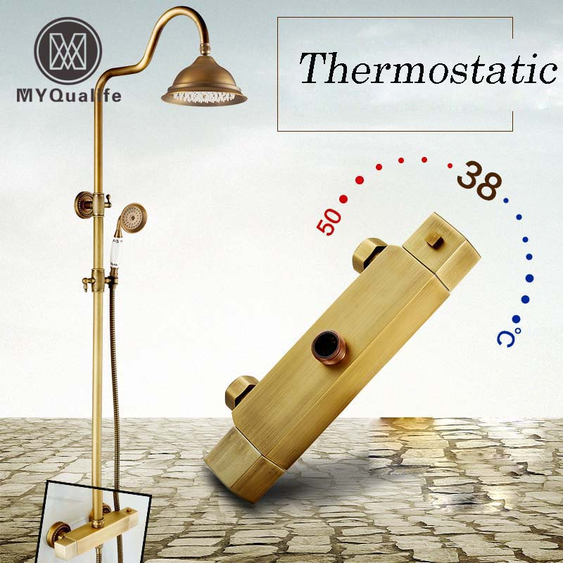 Antique Brass Bathroom Robinet Thermostatique Douche Dual Handle Wall Mounted 8 Rainfall Shower Mixer Faucet antique brass wall mounted bathroom copper toilet paper roll holder aba079