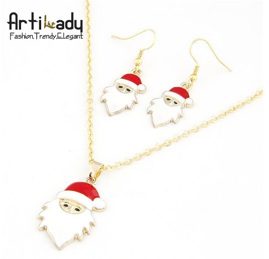 Artilady Christmas gift jewelry bag free gold plated Santa Claus necklace earrings set christmas jewelry sets 2013 fashion women